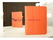 Фирменный чехол-обложка для Samsung Galaxy Tab 3 10.1 GT-P5200/P5210 с визитницей и держателем для руки оранже..
