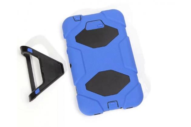 Противоударный усиленный ударопрочный фирменный чехол-бампер-пенал для Samsung Galaxy Tab 3 7.0 Kids SM-T2105 синий