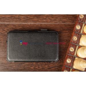 """Чехол открытого типа без рамки вокруг экрана с мульти-подставкой для Samsung Galaxy Tab 3 7.0 T210/T211 черный натуральная кожа """"Deluxe"""" Италия"""