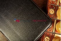 """Фирменный чехол для Samsung Galaxy Tab 3 8.0 SM-T310/T311 с мульти-подставкой и держателем для руки черный кожаный """"Deluxe"""" Италия"""