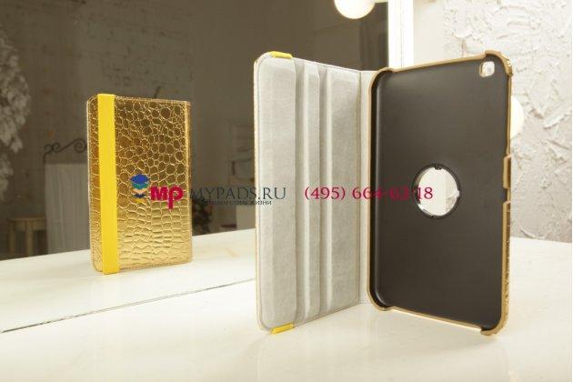 Эксклюзивный чехол для Samsung Galaxy Tab 3 8.0 кожа крокодила золотой. Только в нашем магазине. Количество ограничено