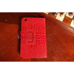 Лаковая блестящая кожа под крокодила чехол для Samsung Galaxy Tab 3 8.0 SM-T310/T311/T315 алый огненный красный