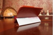 "Фирменный чехол для Samsung Galaxy Tab 3 8.0 T310/T311/T315 SLIM коричневый ""Luxury"" натуральная кожа Италия"