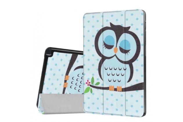 Фирменный уникальный необычный чехол-книжка для Samsung Galaxy Tab A 10.1 2016 SM-P580/P585 S-Pen тематика Сова