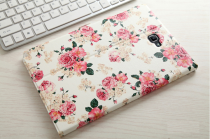 Фирменный уникальный необычный чехол-подставка для Samsung Galaxy Tab A 10.1 2016 SM-P580/P585 S-Pen  тематика Цветы