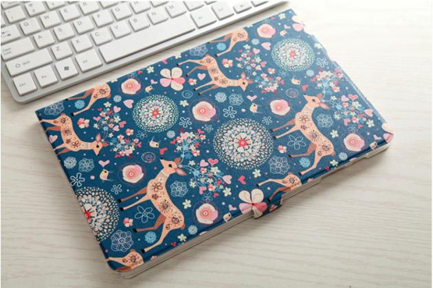 Фирменный уникальный необычный чехол-подставка для Samsung Galaxy Tab A 10.1 2016 SM-P580/P585 S-Pen  тематика Олени в цветах