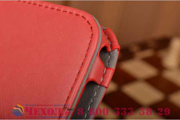 "Фирменный чехол бизнес класса для Samsung Galaxy Tab E 9.6 SM-T560N/T561N/T565N с визитницей и держателем для руки красный натуральная кожа ""Prestige"" Италия"
