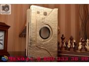 Эксклюзивный чехол обложка футляр для Samsung Galaxy Tab E 9.6 SM-T560N/T561N/T565N кожа крокодила золотой. То..