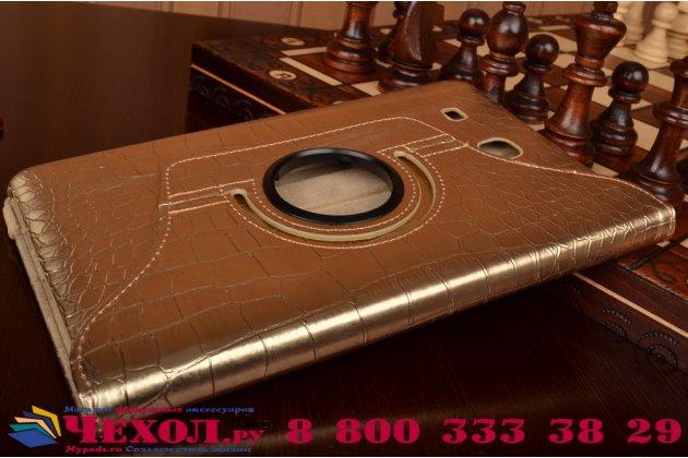 Эксклюзивный чехол обложка футляр для Samsung Galaxy Tab E 9.6 SM-T560N/T561N/T565N кожа крокодила золотой. Только в нашем магазине. Количество ограничено