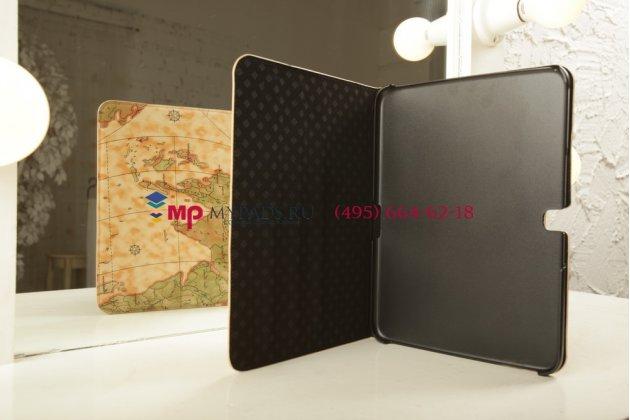 "Чехол для Samsung Galaxy Tab 3 10.1 GT-P5200/P5210 ""тематика карта мира"" кожаный желтый"