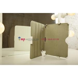 """Фирменный чехол для Samsung Galaxy Tab 3 10.1 P5200/P5210 с мульти-подставкой и держателем для руки белый кожаный """"Deluxe"""" Италия"""