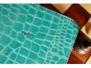 Фирменный чехол-футляр для Samsung Galaxy Tab 3 10.1 P5200/P5210/P5220 кожа крокодила бирюзовый..