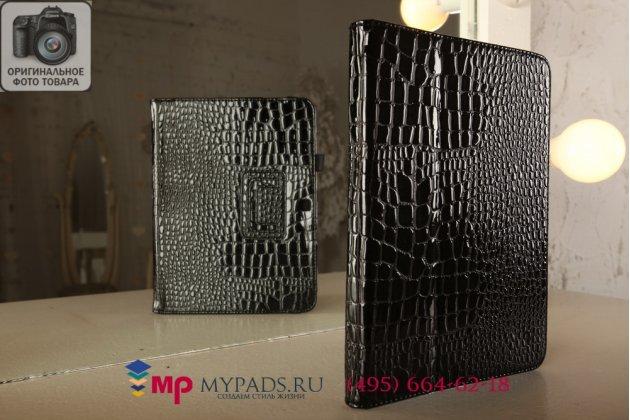 Фирменный чехол-книжка для Samsung Galaxy Tab 3 10.1 GT-P5200/P5210 кожа крокодила черный