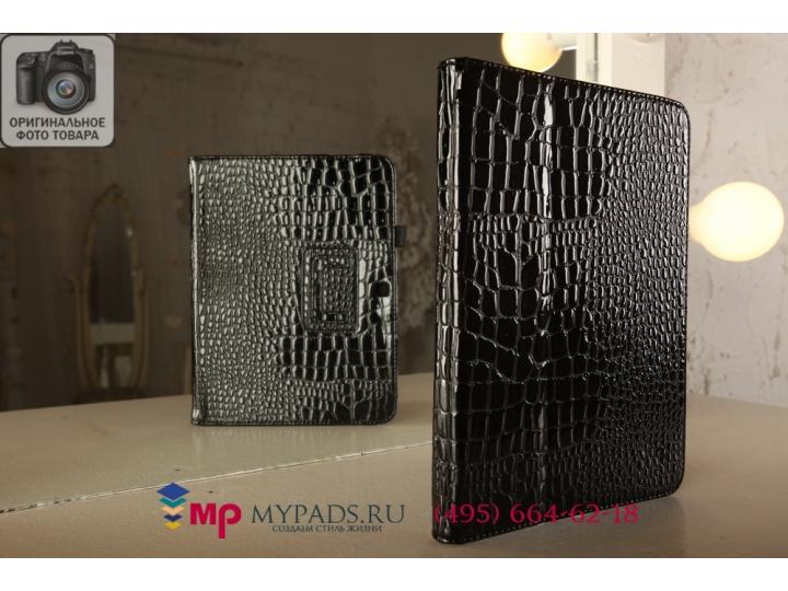 Фирменный чехол-книжка для Samsung Galaxy Tab 3 10.1 GT-P5200/P5210 кожа крокодила черный..