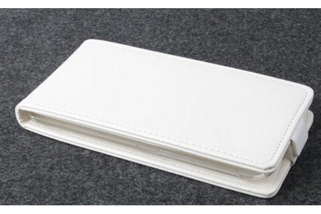 """Фирменный оригинальный вертикальный откидной чехол-флип для Samsung La Fleur GT-S5230 белый из натуральной кожи """"Prestige"""" Италия"""