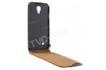 Фирменный вертикальный откидной чехол-флип для Samsung Galaxy J (SGH-N075T) черный кожаный