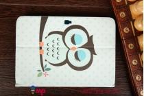 "Уникальный фирменный чехол-футляр для Samsung Galaxy Note 10.1 N8000/N8010/N8020  ""тематика Совы"" голубой"