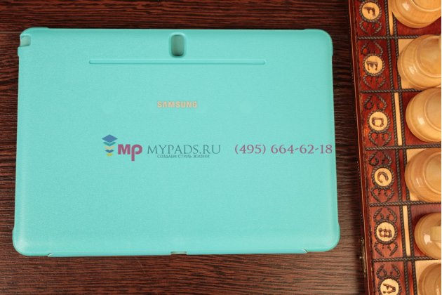 "Чехол с логотипом для Samsung Galaxy Note 10.1 2014 edition SM-P6000/P6010/P6050 с дизайном ""Book Cover"" голубой"