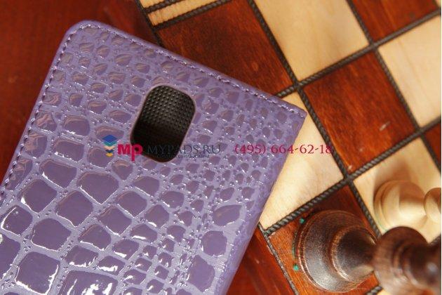 Чехол-книжка для Samsung Galaxy Note 3 SM-N900/N9005 лаковая блестящая кожа под крокодила фиолетового цвета