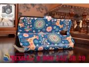 Фирменный чехол-книжка с безумно красивым расписным рисунком Оленя в цветах на Samsung Galaxy Note 3 с окошком..