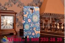 Фирменный чехол-книжка с безумно красивым расписным рисунком Оленя в цветах на Samsung Galaxy Note 3 с окошком для звонков