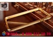 Фирменный оригинальный ультра-тонкий чехол-бампер со стразами для Samsung Galaxy Note 3 золотой металлический..