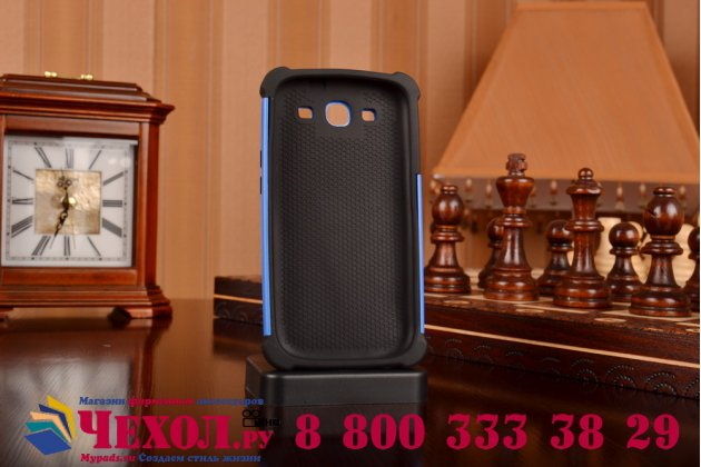 Противоударный усиленный ударопрочный фирменный чехол-бампер-пенал для Samsung Galaxy S3 GT-I9300/Duos GT-I9300I синий