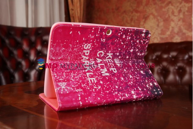 "Чехол-книжка для Samsung Galaxy tab 3 10.1 ""тематика Keep Calm"" малиновый"