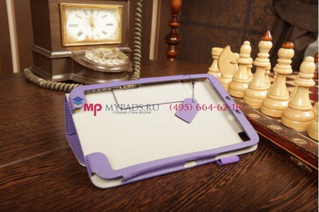 """Чехол-обложка для Samsung Galaxy Tab 3 8.0 SM-T310/T311 фиолетовый """"Prestige"""" натуральная кожа Италия"""