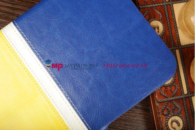 Чехол-книжка для Samsung Galaxy Tab 3 7.0 SM-T210/T211 желто-синий кожаный