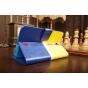 Чехол-книжка для Samsung Galaxy Tab 3 7.0 SM-T210/T211 желто-синий кожаный..