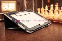 """Фирменный чехол-футляр для Samsung Galaxy Note 10.1 2014 edition SM-P600/P601/P605 с визитницей и держателем для руки черный натуральная кожа """"Prestige"""" Италия"""