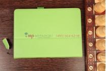 """Фирменный чехол-книжка для Samsung Galaxy Note 10.1 2014 edition SM-P600/P601/P605 с визитницей и держателем для руки зеленый натуральная кожа """"Prestige"""" Италия"""