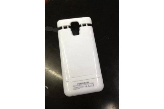 Чехол-бампер со встроенной усиленной мощной батарей-аккумулятором большой повышенной расширенной ёмкости 5000mAh для Samsung Galaxy Note 4  белый + гарантия