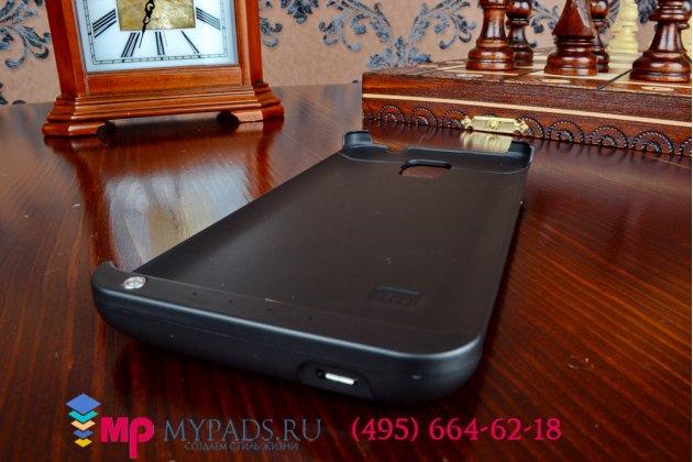 Чехол-бампер со встроенной усиленной мощной батарей-аккумулятором большой повышенной расширенной ёмкости 5000mAh для Samsung Galaxy Note 4  черный + гарантия
