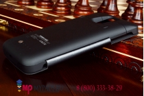 Чехол-книжка с окошком со встроенной усиленной мощной батарей-аккумулятором большой повышенной расширенной ёмкости 4800mAh для Samsung Galaxy Note 4 SM-G850F/SM-N910C черный + гарантия