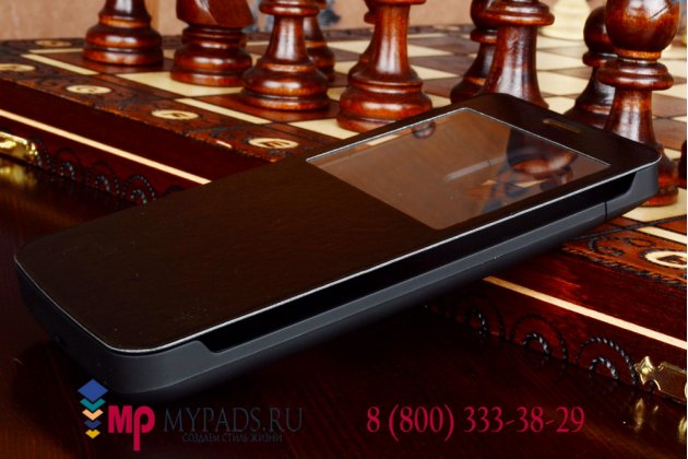 Чехол-книжка с окошком со встроенной усиленной мощной батарей-аккумулятором большой повышенной расширенной ёмкости 4800mAh для Samsung Galaxy Note 4  черный + гарантия