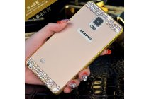 Фирменная металлическая задняя панель-крышка-накладка из облегченного авиационного алюминия украшенная стразами и кристалликами для Samsung Galaxy Note 4 золотая