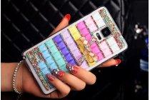 Фирменная роскошная элитная пластиковая задняя панель-накладка украшенная стразами кристалликами и декорированная элементами для Samsung Galaxy Note 4 радужная