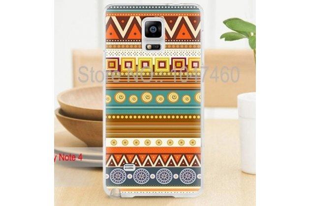 Фирменная роскошная задняя панель-чехол-накладка с безумно красивым расписным эклектичным узором на Samsung Galaxy Note 4