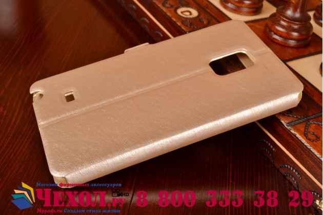 Фирменный чехол-книжка для Samsung Galaxy Note Edge золотой с окошком для входящих вызовов и свайпом водоотталкивающий