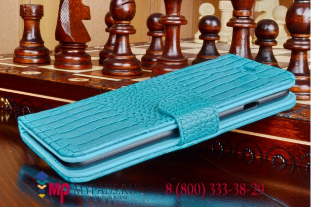 Фирменный чехол-книжка с подставкой для Samsung Galaxy Note Edge лаковая кожа крокодила небесный голубой