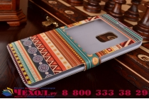 Фирменный чехол-книжка с безумно красивым расписным эклектичным узором на Samsung Galaxy Note Edge с окошком для звонков