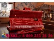 Фирменный чехол-книжка с подставкой для Samsung Galaxy Note Edge лаковая кожа крокодила алый огненный красный..