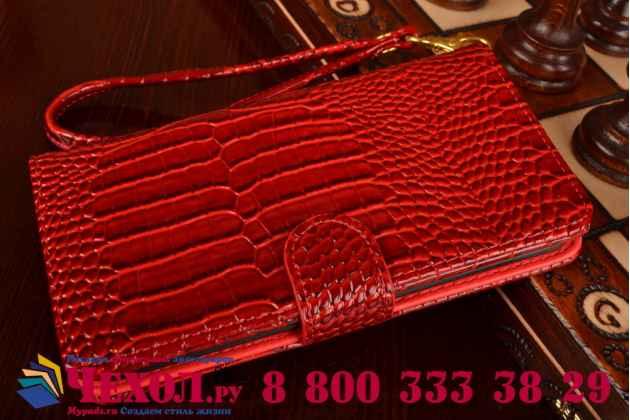 Фирменный чехол-книжка с подставкой для Samsung Galaxy Note Edge лаковая кожа крокодила алый огненный красный