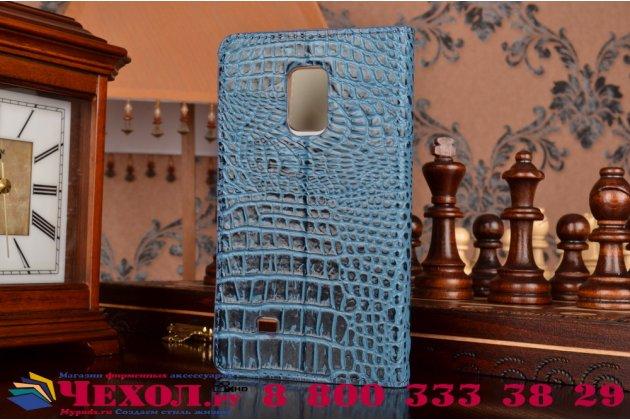 Фирменный роскошный эксклюзивный чехол с объёмным 3D изображением рельефа кожи крокодила синий для Samsung Galaxy Note Edge SM-N915F. Только в нашем магазине. Количество ограничено