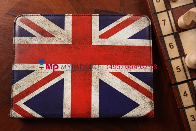 "Фирменный чехол роторный оборотный для Samsung Galaxy Tab 4 10.1 SM-T530/T531/T535 ""тематика ретро Британский флаг"""