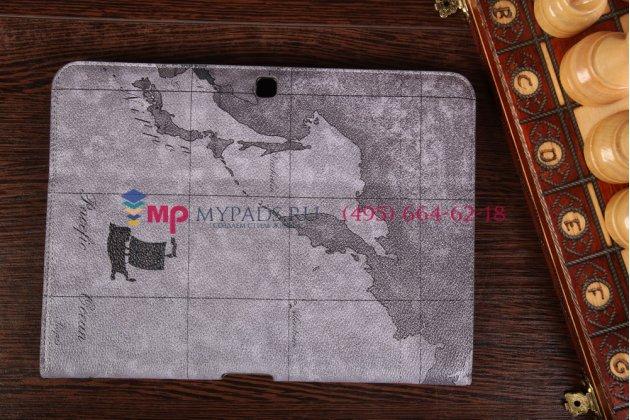 "Чехол-футляр для Samsung Galaxy Tab 4 10.1 ""тематика карта мира"" кожаный серый"
