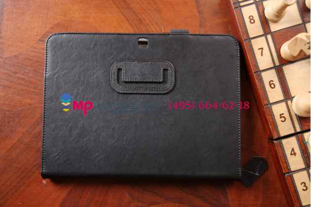 """Фирменный чехол обложка бизнес класса для Samsung Galaxy Tab 4 10.1 SM-T530/T531/T535 с визитницей и держателем для руки черный натуральная кожа """"Prestige"""" Италия"""