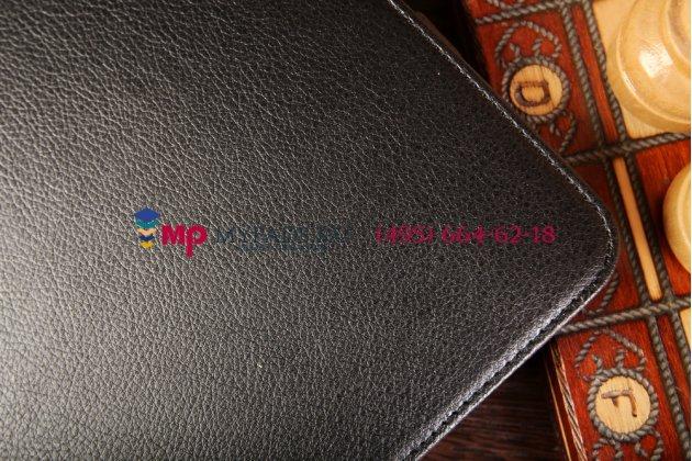 """Фирменный чехол открытого типа без рамки вокруг экрана с мульти-подставкой для Samsung Galaxy Tab 4 10.1 дюймов черный кожаный """"Deluxe"""""""